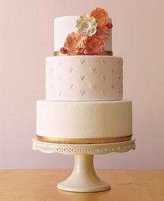Wedding cake - the little hearts are a cute and understated embellishment