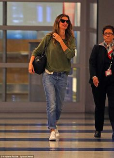 Effortlessly chic: Gisele Bundchen proved she looks just as good in a low-key ensemble, sporting a casual and comfy ensemble for her travels to New York City on Friday night