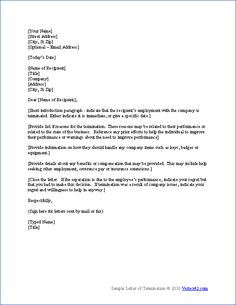 Termination Letter Format | Free Word Templates - employee ...