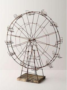 wire art sculpture the ferris wheel mixed media sculpture of circus amusement ride Sculptures Sur Fil, Sculpture Art, Wire Sculptures, Abstract Sculpture, Bronze Sculpture, Arte Bar, Stylo 3d, The Farm, Art Fil