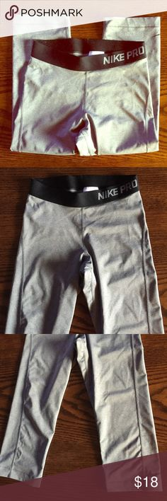 Nike Pro Capri Crop Pants Worn a few times, in great condition. These are a light gray color. Nike Pants