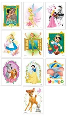 Disney Classic Films Tattoos - Set of 10 by Disney. $4.65. These tats feature great images of classic Disney films, including Bambi, Peter Pan, Dumbo, Lady and the Tramp, Snow White, Jungle Book and others. These where made for vending machine sales. Buyers place two quarters in a machine, turn the knob and a received a random tats. This is the complete set of 10 Tattoos. Great for party favors.