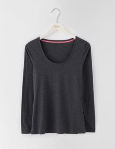 Supersoft Scoop Tee WO107 Long Sleeved Tops at Boden