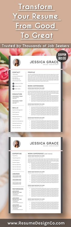 ▻ PROMOTION - 3 professional and elegant resume templates for - coupon templates for word