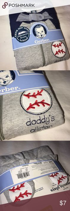 """Set of 2 sleepers playsuits. Baseball themed footie pajamas or playsuits!  BRAND NEW UNOPENED!  """"Daddy's all star"""" with baseball feet detailing.  Other one is blue and white stripes with blue sleeves. 3-6m Gerber Pajamas"""