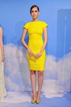 Citron yellow cocktail dress. YEAH!