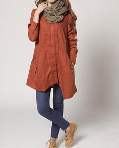 autumn orange Linen Asymmetry single breasted long shirt by MaLieb