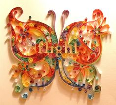 Quilling is the art of creating little rolls from delicate strips of paper and shaping them into intricate designs. The art of Quilling date. Quilling Butterfly, Art Quilling, Quilling Patterns, Quilling Designs, Quilling Ideas, Rainbow Butterfly, Butterfly Art, Rainbow Fish, Butterfly Pattern