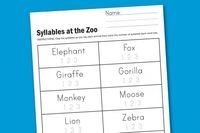 Worksheet Wednesday: Zoo Syllables - Honest To Nod (great blog from Land of Nod)