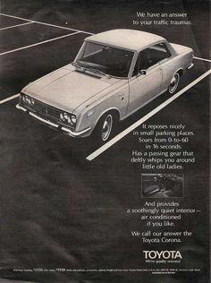 TOYOTA Corona #toyota #corona #print #ad #advertisement #vintage #bennetttoyota #pennsylvania