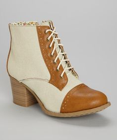 Loving this Bucco Cognac Kortnea Perforated Lace-Up Boot on #zulily! #zulilyfinds