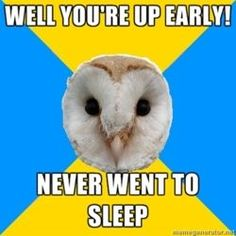 Well you're up early!/Never went to sleep #BipolarOwl