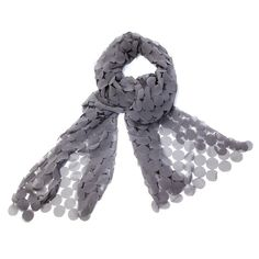 Love this! Found it on Delicate Jewels...love this scarf...gray chiffon, dress it up with the right outfit!