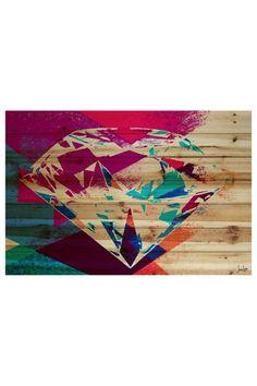Jen Lee Diamond in the Rough Brown Distressed Wood Wall Art