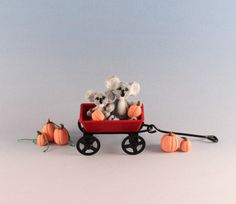 OOAK~Koala Bears~Wagon~Pumpkins~Miniature~Dolls House Toy~Clay~Sculpture~Artist…