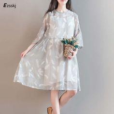 Girl Chiffon gray Embroidery Lace Women Dress Half Dress O Neck Two Pieces summer dress big size M-XXL female plus size