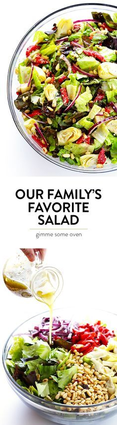 Our family's favorite salad is made with lots of artichoke hearts, roasted red peppers, toasted pine nuts, and a zesty Parmesan vinaigrette. A healthy salad recipe that is anything but boring. Pin this clean eating recipe for later! New Recipes, Vegetarian Recipes, Dinner Recipes, Cooking Recipes, Healthy Recipes, Healthy Salads, Healthy Eating, Easy Salads, Clean Eating