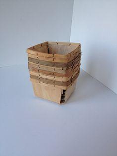 Set of Eight Vintage Strawberry Split Wood Baskets by vintapod, $15.75
