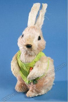 "9"" X 4"" DRESSED STRAW RABBIT CREAM/GREEN - GandGwebStore.com Crafting Tools, Cute Bunny, Rabbit, Teddy Bear, Easter, Cream, Spring, Crafts, Animals"