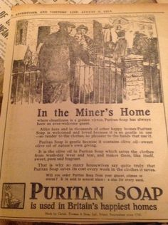 G3-1 ephemera 1915 ww1 #advert in the miners #miner's home puritan soap #folded,  View more on the LINK: http://www.zeppy.io/product/gb/2/262505650298/