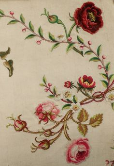 Floral embroidery, silk ground, finely worked to imitate brocaded silk, c.1760,  46x36cm, Kerry Taylor Auctions