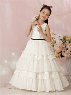 b441c5a2f61a9 A-Line/Princess Scoop Neck Floor-Length Organza Satin Flower Girl Dress  With Lace Sash Cascading Ruffles. simple dresses