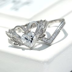 VANCARO Classic Sterling Silver Swan Promise Ring Set
