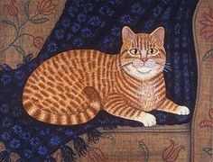 Pets Paintings - Curry the Cat  by Linda Mears