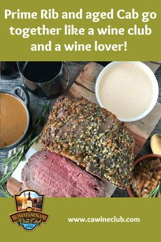 Prime Rib with Rosemary-Garlic Butter Rub shared by Mt. Pair with a Cabernet Sauvignon of your choosing from The California Wine Club's Aged Cabernet Series. California Wine Club, Napa Valley Cabernet Sauvignon, Wine Finder, Prime Rib Roast, Wine Subscription, Garlic Butter, Wine Recipes, Food Inspiration, Stuffed Peppers