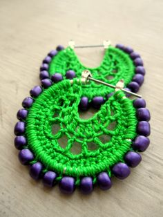 Crocheted hoops with beads in green