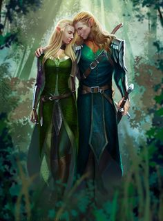 Elf Couple.Commissioned painting by A. B. The female elf in the painting is a portrait of the commissioner.