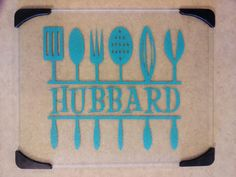 Personalized glass cutting board with vinyl by KatesCoasters, $20.00