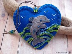 Leaping Dolphins Embroidered Felt Ornament by SandhraLee on Etsy Felt Embroidery, Felt Applique, Fabric Crafts, Sewing Crafts, Sewing Projects, Felt Christmas Ornaments, Christmas Crafts, Marine Style, Felt Decorations