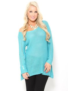Open Knit V-Back Tunic #Sweater