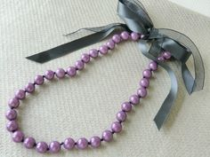 Purple Beads Necklace, Hand Knotted Necklace, Charcoal Grey Ribbon Necklace,  Handmade by Charlotte Jewelry Box on Tictail.