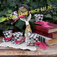Alice in Wonderland  Decor set of 5 MAD HATTER Top hats  favors/table decorations