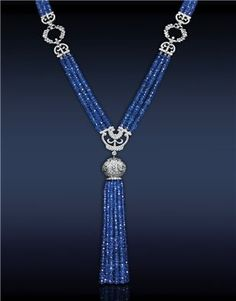 Jacob & Co. - Fine Jewelry - Blue Sapphire Tassel Necklace - Featuring: Ct Blue Sapphires Highlighted with Ct Pave' Set White Diamonds Mounted in Platinum by happy world Tassel Jewelry, Tassel Necklace, Beaded Jewelry, Fine Jewelry, Necklaces, Blue Sapphire Necklace, Pink Sapphire, Dragon Jewelry, Jewelry Trends