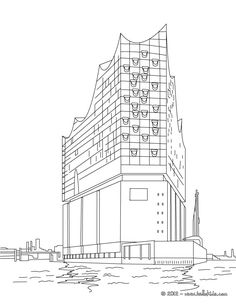 Elbphilharmonie Hamburg a concert hall coloring page. Welcome to FAMOUS PLACES IN GERMANY coloring pages! Enjoy coloring the Elbphilharmonie Hamburg a . Famous Buildings, Modern Buildings, Hamburg City, Hamburg Germany, Hall Colour, City Sketch, Dubai Skyscraper, Image Categories, Famous Places