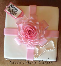 Pink ombré fondant realistic rose, fondant covered square cake, gift box, pearls, cake decorating, fondant flowers, fondant rose