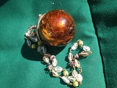 Vintage  Necklace Glass Gold Crackle Gothic Ball by BagsnBling, $12.00