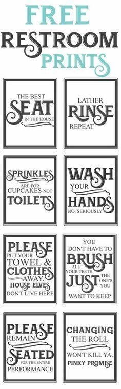 Splendid Free Vintage inspired bathroom printables-funny quotes to hang up in the restroom-farmhouse style-www.themoun… The post Free Vintage inspired bathroom printables-funny quotes to hang up in the restroo… appeared first on Dol Decor . 3d Templates, Vintage Inspiriert, Bathroom Signs, Bathroom Ideas, Bathroom Organization, Bathroom Interior, Funny Bathroom, Organization Hacks, Organizing