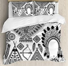 Sporting Tribal Duvet Cover Set Native American Feather Head Band Ethnic Teepee Tent Bow And Arrow Art Print 3 Piece Bedding Set