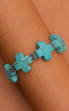 Turquoise Cross with Silver Beaded Stretch Bracelet