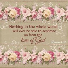 """""""Nor height, nor depth, nor any other creature, shall be able to separate us from the love of God, which is in Christ Jesus our Lord."""" Romans 8:39 KJV"""