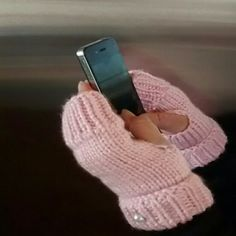 !!!!HP!!!! Pink Fingerless Gloves Pink with a pearl colored button. Handmade Accessories Gloves & Mittens