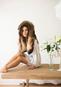 fur hood scarf white lace dress