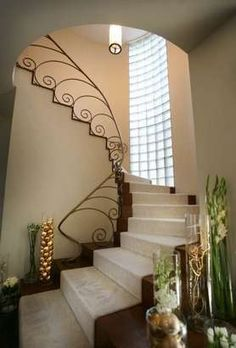 The 1937 Art Deco residence of Don and Teresa Altemeyer. Pictured here, the grand staircase accented with iron work railings.  (Frank Espich/The Star)