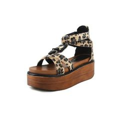 Leopard Horsehair T-bar Cross flatform Sandals found on Polyvore