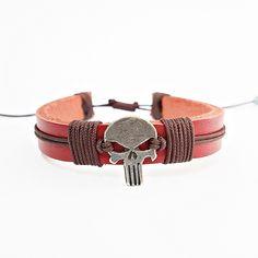 Pulseira Masculina Couro Vermelho Caveira Justiceiro mens bracelets moda fashion leather homem style pulseirismo cocar brasil