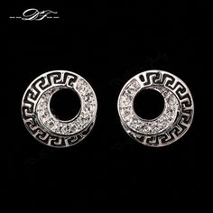 Chic Round CZ Diamond Party Stud Earrings 18K Rose/White Gold Plated Wedding women DFE202M